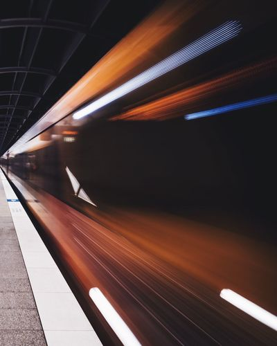 Train Train Station Underground Subway Motion Blur Light Trails Speed Vanishing Point Leading Lines Time Quick Fast Dramatic Angles