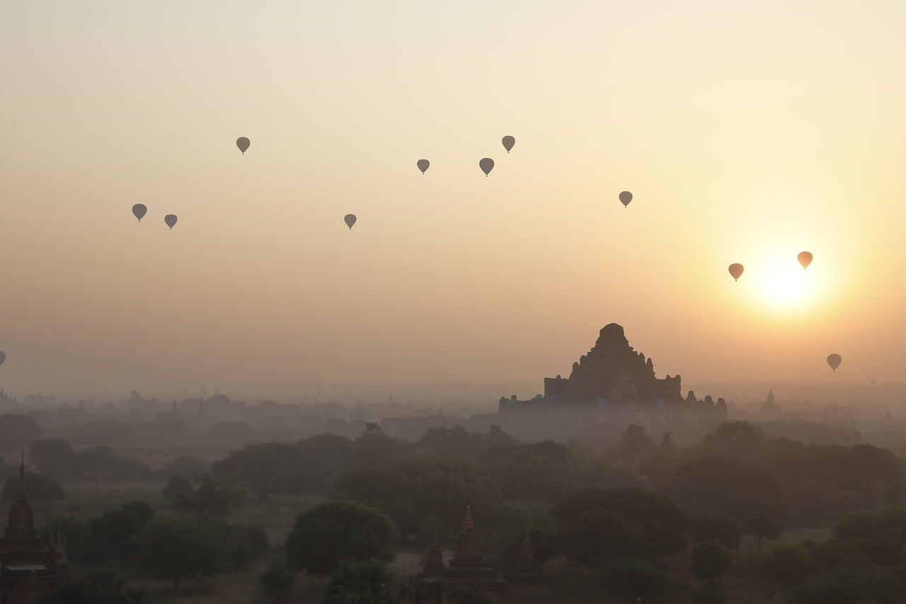 Ancient Balloon Beauty In Nature Dawn Flying Fog Hot Air Balloon Landscape Landscape_Collection Landscape_photography Mid-air Morning Morning Light Morning Sky Mountain Nature Nature Photography Nature_collection Outdoors Pagoda Sky Sunrise Sunrise_Collection Sunrise_sunsets_aroundworld Tree