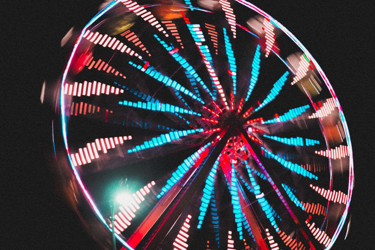 illuminated, ferris wheel, night, low angle view, black background, multi colored, amusement park ride, no people, big wheel, outdoors, sky