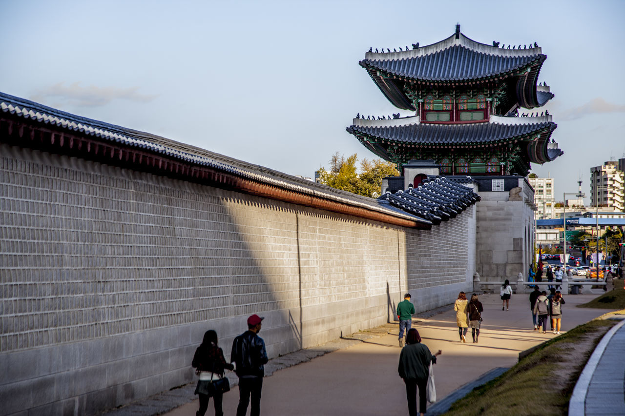 Architectural Feature Architecture Building Exterior Built Structure Castle Chosun Dynasty City Culture Cultures Famous Place Famous Places Gate Gwangwhamun Men Palace Place Of Worship Religion Roof Spirituality Temple Temple - Building Travel Wall