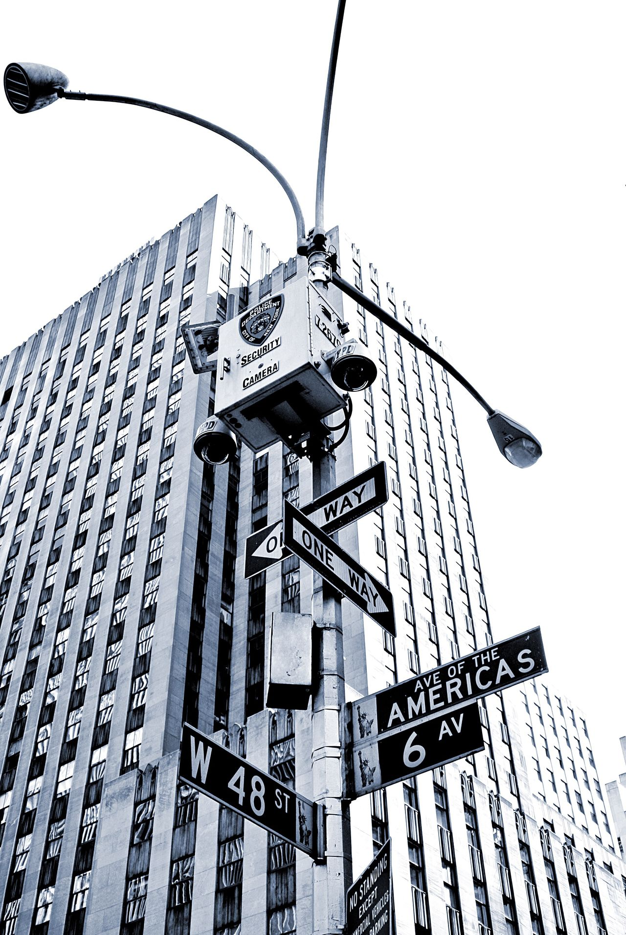 New York New York City NYC Street Photography Sign Road Sign Architecture Security Camera Street Light Urban City City Life Black And White Street Sign Street Signs Securitycam Security Cam Security Camera Safety Cctv Street Signage Road Signs Battle Of The Cities