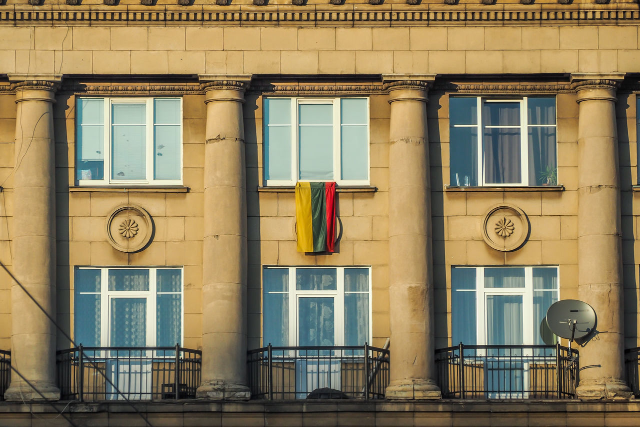 Lietuva Lithuania Lithuanian Flag Trispalvė V16 Architecture Building Building Exterior Built Structure City Day Flag Independence Day Lithuania Flag Low Angle View No People Outdoors Residential Building Sky V1 Vasario 16 Window
