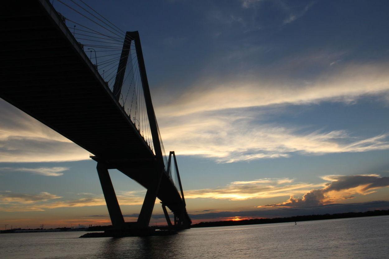 Bridge - Man Made Structure Charleston SC Ravenal Bridge Silhouette Sky Sunset Travel Destinations Water