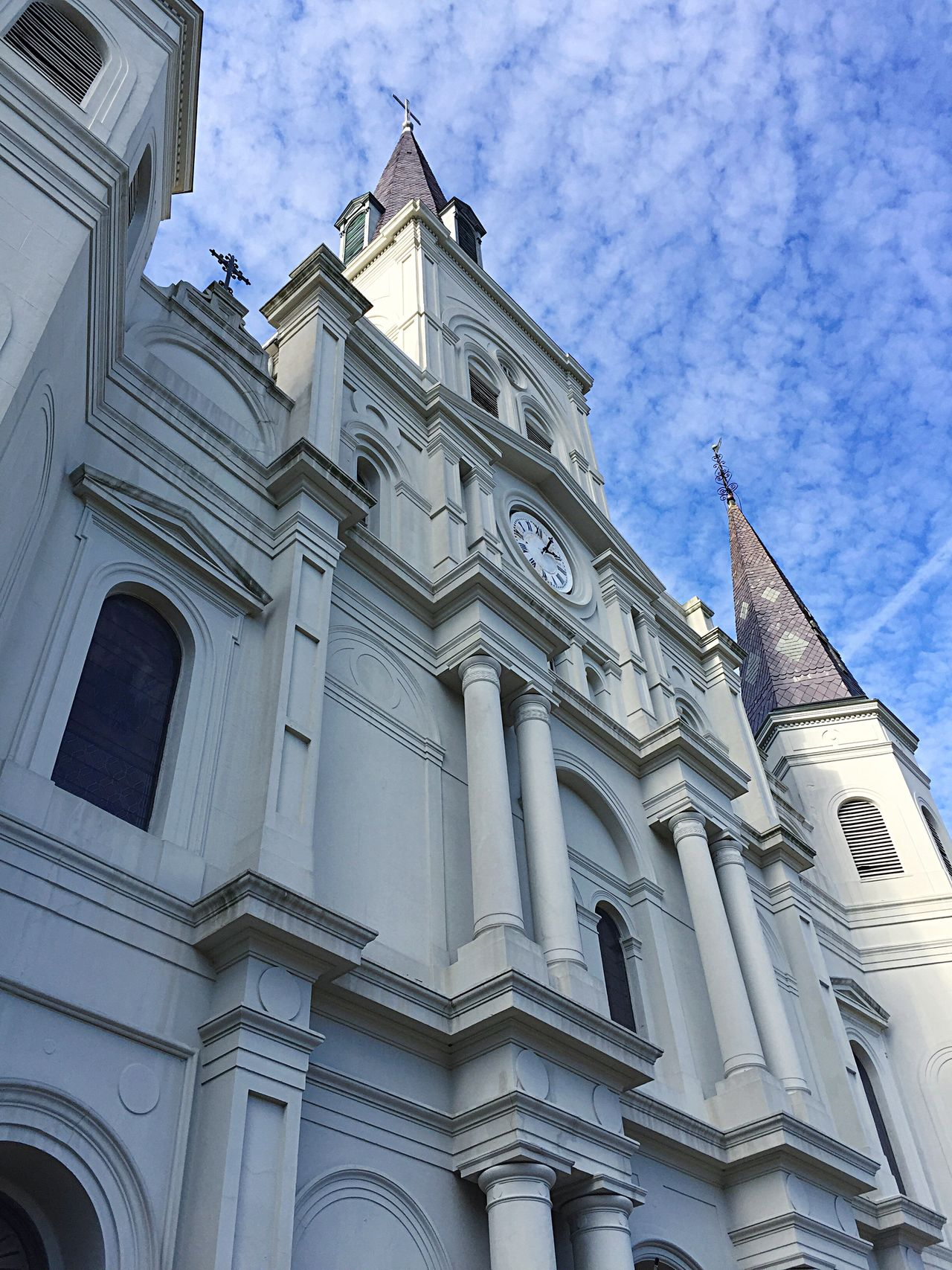 Building Exterior Architecture Low Angle View Built Structure Sky Outdoors No People Day Architectural Column Religion City Pediment Jackson Square St. Louis Cathedral