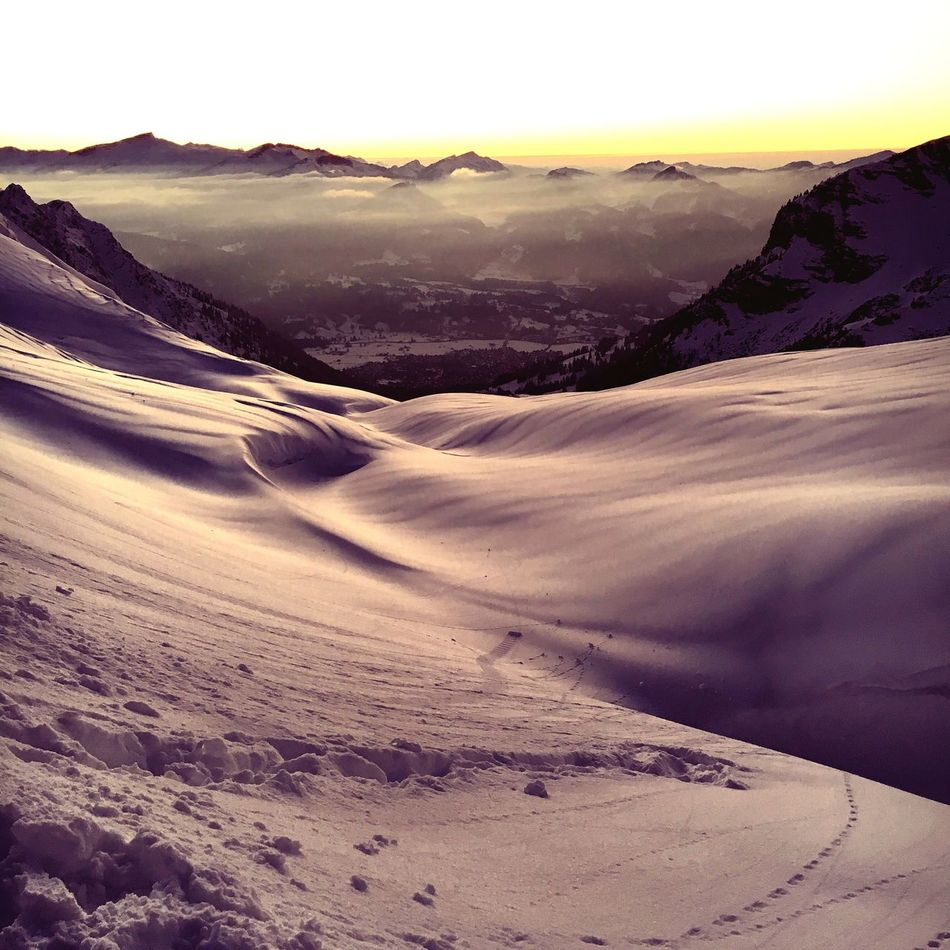 Winter hiking tour Tranquility Nature Tranquil Scene Beauty In Nature Landscape Remote Outdoors Sky Travel Destinations Mountain Sunset Day Winter Arid Climate No People Nebelhorn Oberstdorf