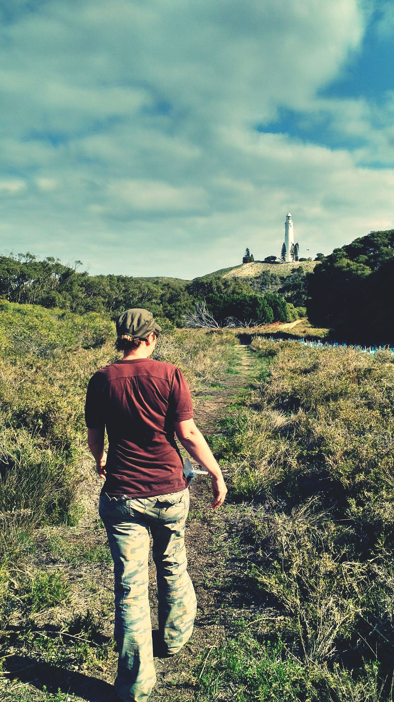 Hiking towards one of Rottnest Island's two Lighthouses. Landscape