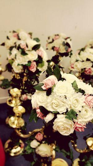 Flowers Wedding Centrepiece Golden Candlabra Artificial Flower Classy Wedding Day