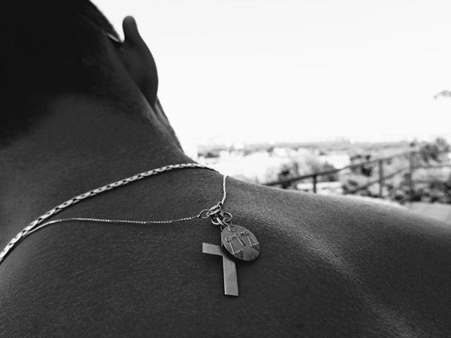 Back Shoulder Masculine Neckline Person Close-up Focus On Foreground Personal Perspective Human Skin Cross Pendant Gold Pendant CaptureTheMoment Monochrome Photography Eye4photography  Soft Beauty Fragility
