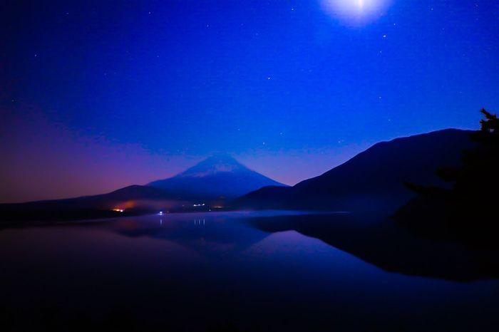 Scenics Beauty In Nature Tranquil Scene Nature Mountain Tranquility Water Lake Night Waterfront Sky No People Outdoors Reflection Star - Space Blue Galaxy