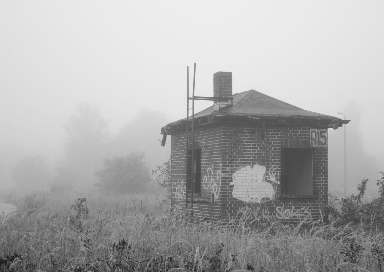 hut in the fog Architecture Art Blackandwhite Built Structure Day Exploring Exterior Fog Foggy Grass Growth Landscape Nature No People Outdoors Overcast Sky Tall - High Tranquility Weather