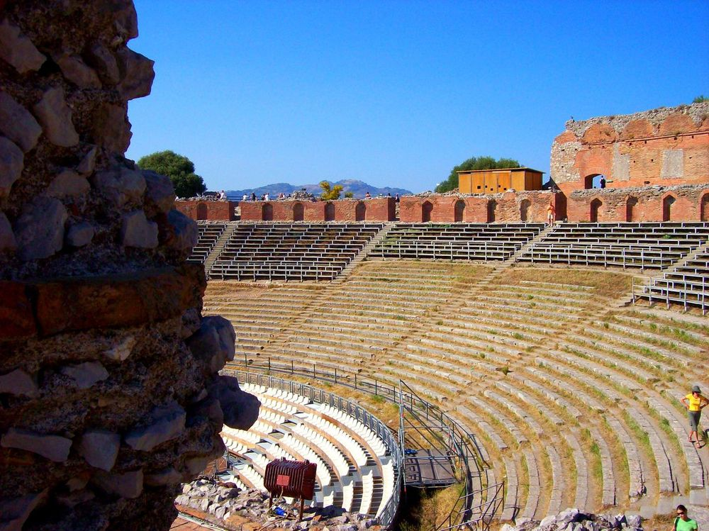 Sicily Teatro Antico Di Taormina Geology Taormina And Etna Clear Sky Scenics Outdoors No People Rock Formation Medieval Stone Wall Old Ruin Ruined Exterior Wall Built Structure Fortified Wall Stone Material Architecture The Past Building Exterior History Sunny