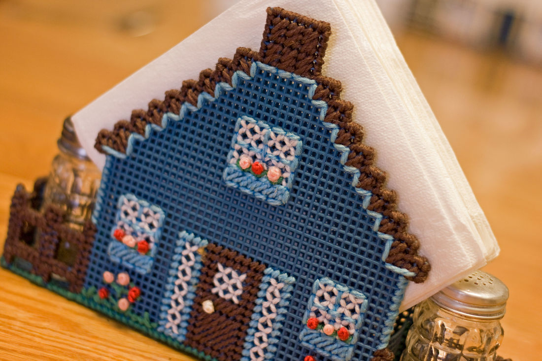 At the table Napkin Holder Salt And Pepper Shakers Dining Table Handmade House Crossstitch Plastic Canvas Crafts Home Sweet Home Home Decor
