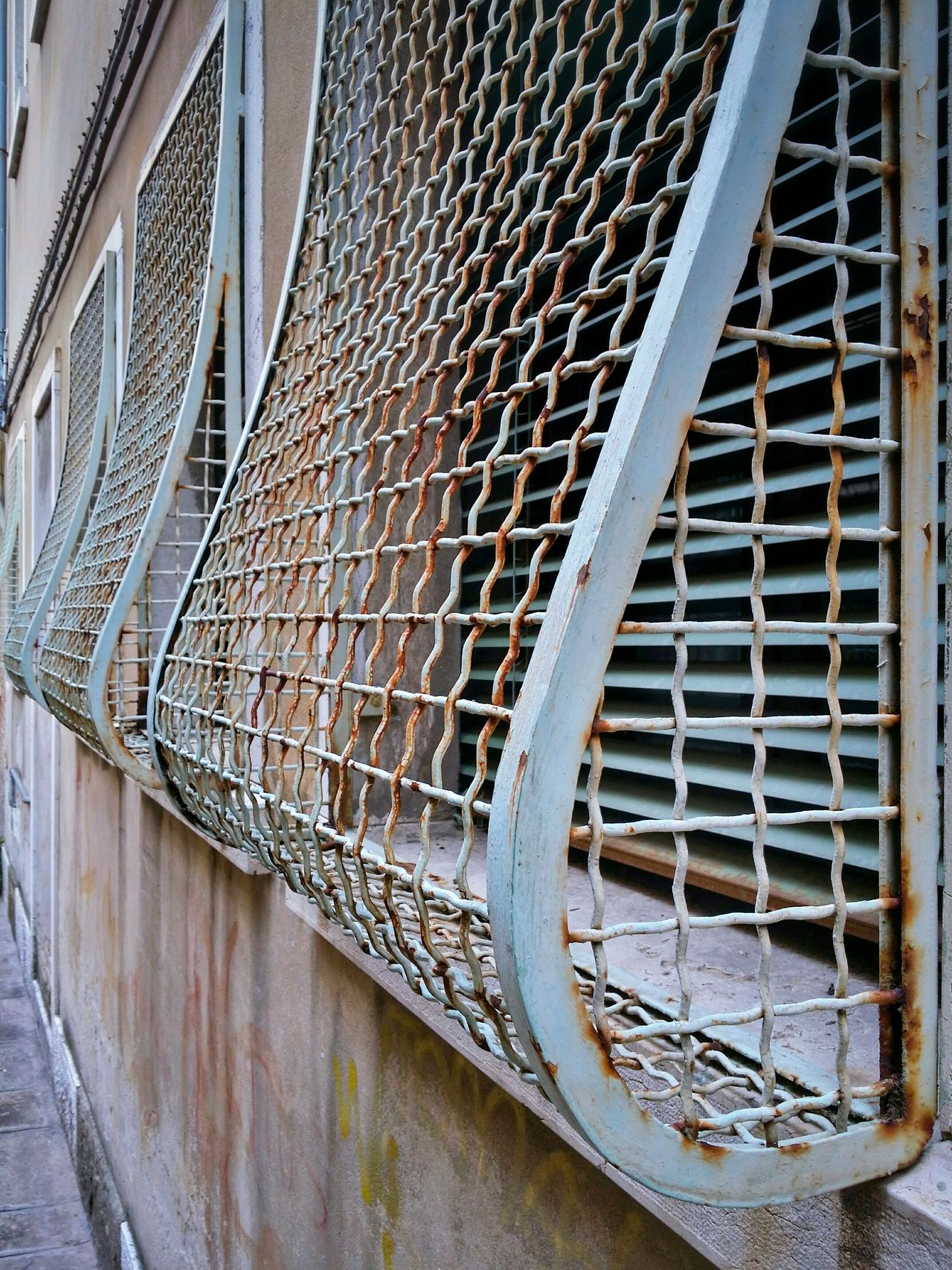 Window Grids Venetian Blinds Window Patterns Venice Veneto Italy Travel Photography Travel Traveling Converging Lines Steel Wire Grids