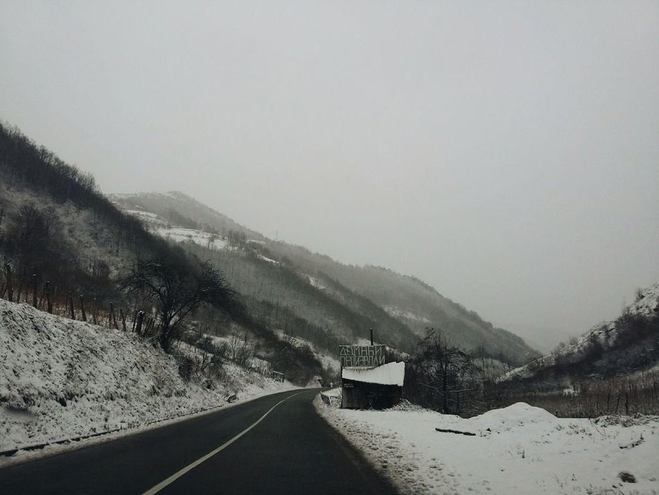 Cold Cold Temperature Copy Space Day Fog Foggy From My Point Of View Hill Landscape Leading Mountain Mountain Range Nature Nature_collection Outdoors Remote Road Roadtrip Snow Weather Winter Landscapes With WhiteWall