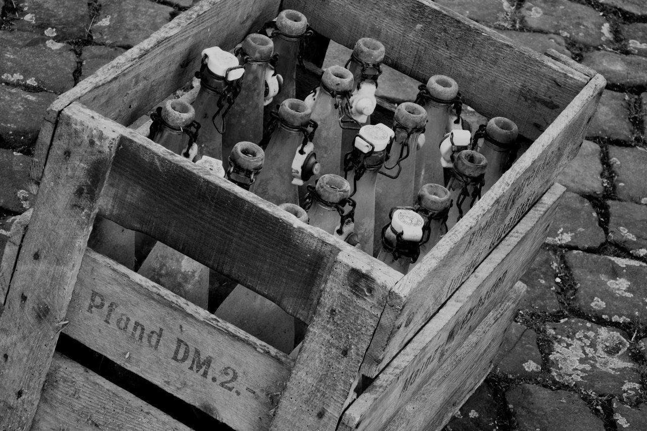 Bottleneck Message In A Bottle Vintage Old Box Bottles Black & White AMP PICTURES