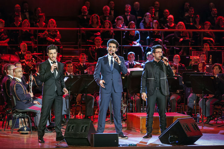 """Rome, Italy - May 6, 2015: The band """"The Flight"""", Gianluca Ginoble, Ignazio Boschetto and Piero Barone, sings in the concert music of the Band of the State Police. Tenor Band Baritone  Barone Boschetto Celebrity Concert Famous Famous People Ginoble Il Volo... Italian Music Sing Sing; Singers Star Success Successful The Flight Trio Voice"""