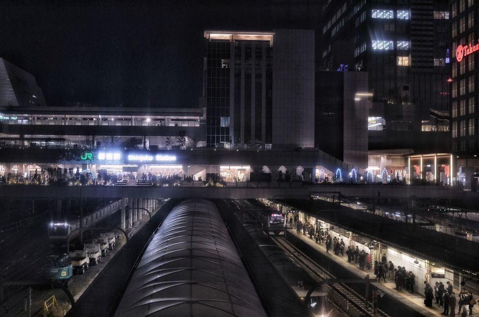 加工前の写真 Before Editing Night Scene ShinjukuStation Night Station Night Lights Night Photography Shinjuku Train Station Night Cityscape Night City Transportation Shinjuku City Tokyo, Japan