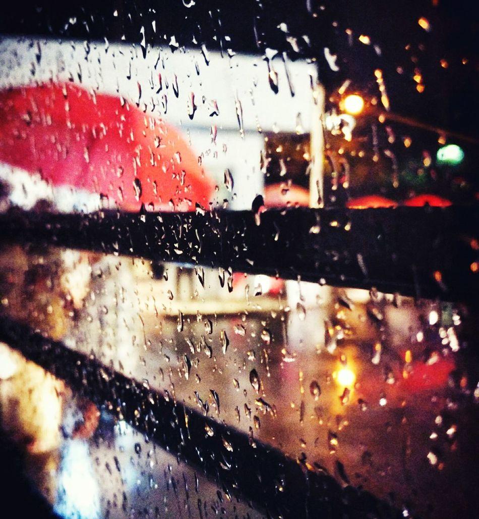 Rain and the red umbrella Rain Umbrella Red Redumbrella Raindrops Glass