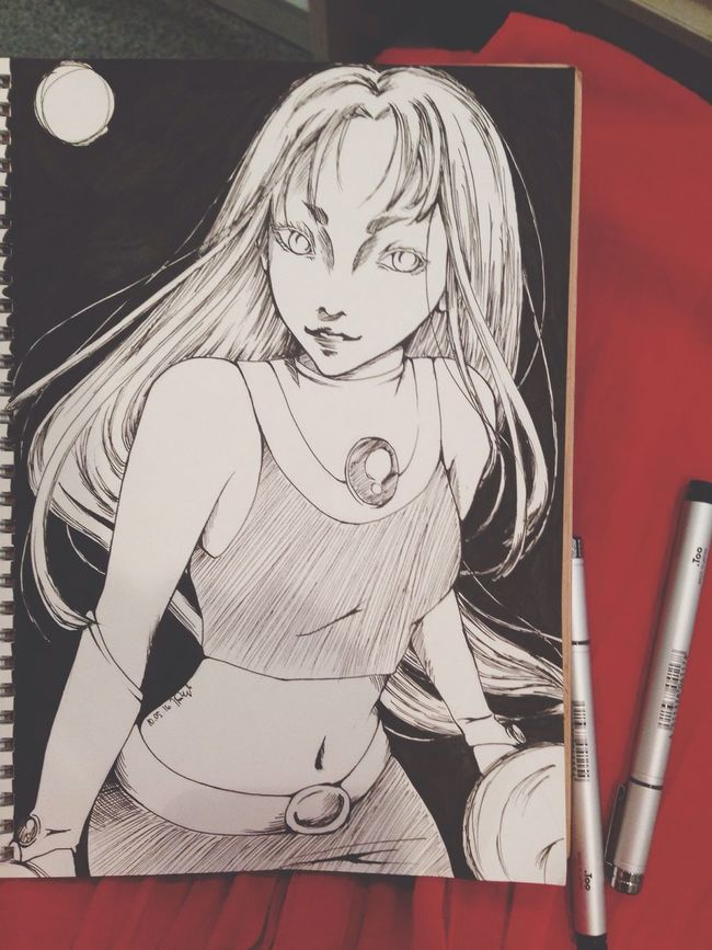 Starfire Teentitans Comic Art Manga MyArt HERO Superheroes Girl Blackandwhite Universe Batman