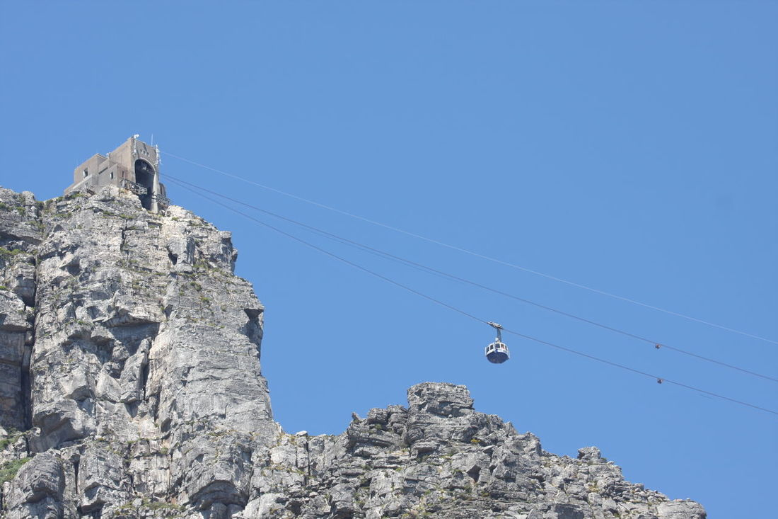 Blue Cable Cable Car Station Clear Sky Day Low Angle View Mountain Nature No People Outdoors Overhead Cable Car Table Mountain Tranquil Scene