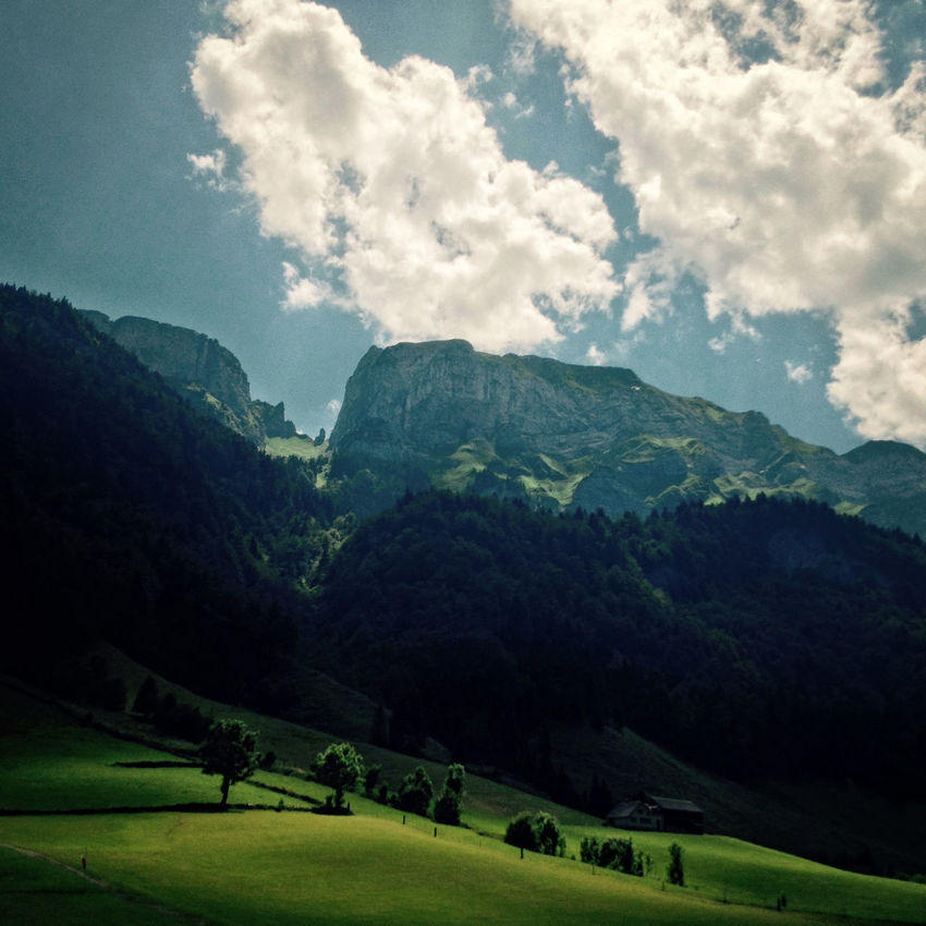 Appenzell Cloud - Sky Europe Grass Grass Green Color Landscape Mountain Mountain Range Nature Outdoors Scenery Scenics Sky Swiss Landscape Switzerland Travel Trees Valley