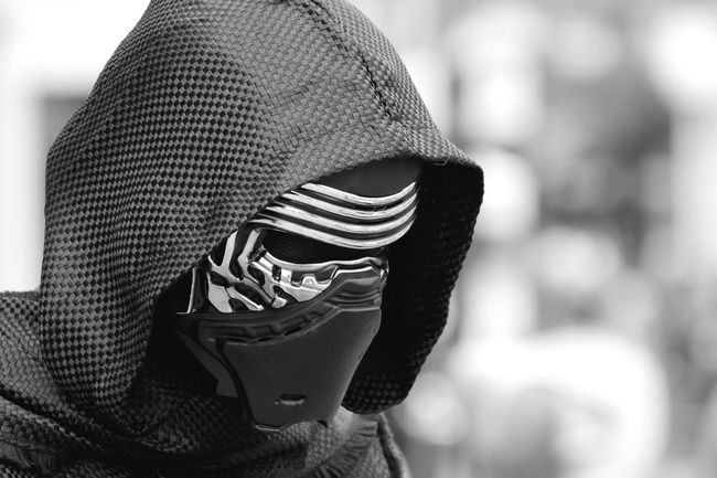 Here's something a little bit different... Focus On Foreground Headshot Hat Scarf Close-up Person Outdoors Culture Young Adult Hoodie Mask Mask - Disguise Dark Scary Portrait Black Fear Black And White Black & White Science Fiction Darkness Starwars Costume