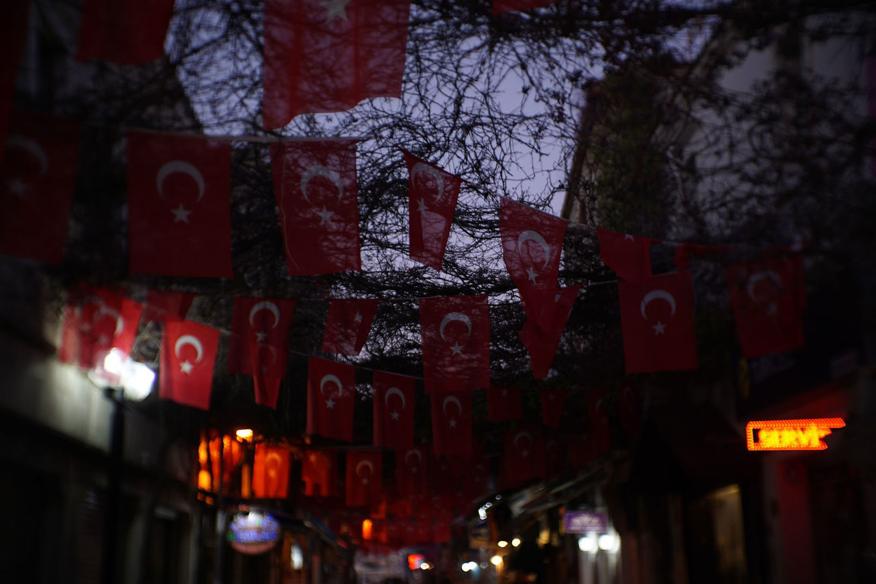No matter what- Red White Illuminated Outdoors Night Flags Capture The Moment Travel Destinations Turkey Türkiye Turkishflag Turkish Flag Sony A6000 Streetphotography Finding New Frontiers No People 35mm 1/50s f- iso100