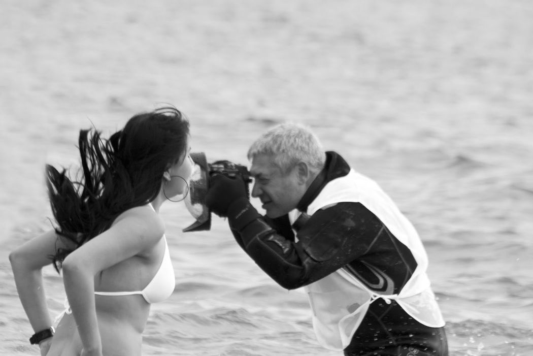 Polar Bears. Woman Taking Photos Photographer Bikini Bikini Time❤ Coney Island / Brooklyn NY Swimming Blackandwhite Black&white Black & White