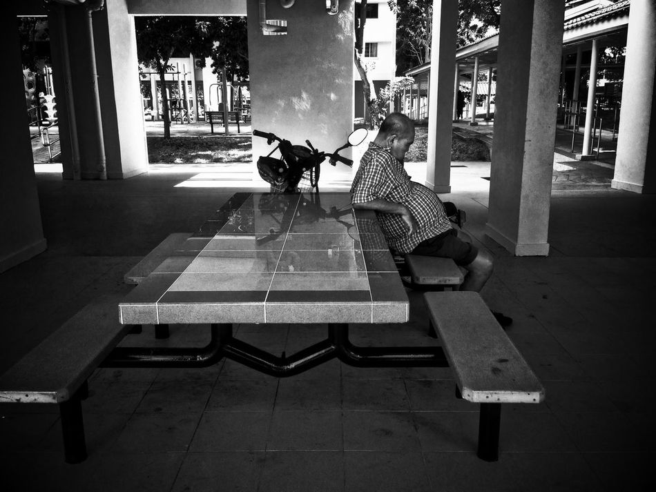Blackandwhite Streetphotography Streetphoto_bw Street Photography Snapshots Of Life Old Man Resting Napping Sleeping Void Deck Benches