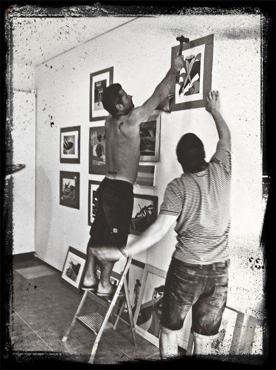 preparing my exhibition, is good to have good friends Surfart Exhibition Surf
