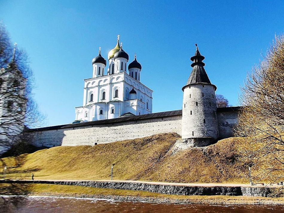 Architecture Building Exterior Religion Place Of Worship Built Structure Outdoors Sky No People Low Angle View Day Dome Clock Tower Псков Pskov
