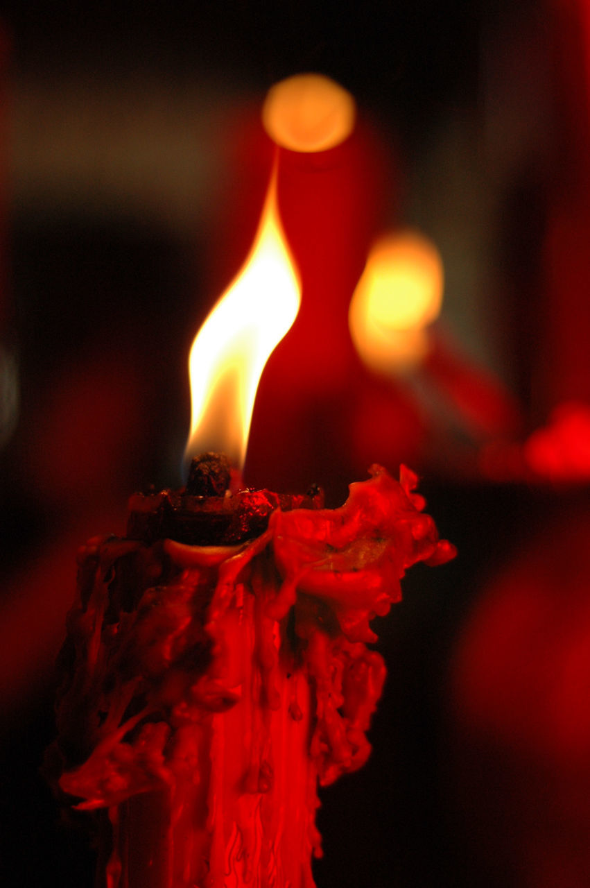 Close Up Of Burning Candle