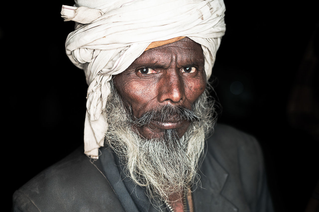 Adults Only Beard Black Background Close-up Cultures Headwear Human Body Part Human Face India Indian Looking At Camera One Person Only Men Portrait Real People Religion Turban
