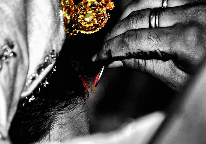 Hindu marriage ritual, bridegroom putting 'sindoor' (in hindi) to brides forehead. Marraige Bride And Groom Sindoor Rituals & Cultural First Eyeem Photo