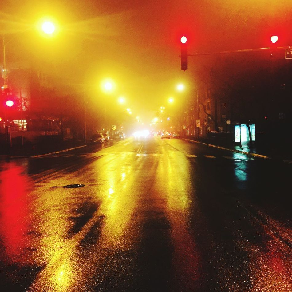 Fog playing tricks with the lights Illuminated Night Street Light Road No People Outdoors Foggy Red Yellow Reflections Rogers Park Chicago Illinois