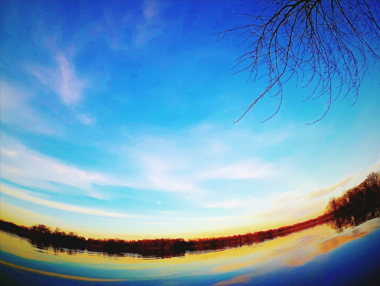 Sky Blue Tree Cloud - Sky Sunset Nature Outdoors Beauty In Nature No People Mountain Star - Space Day Lake Lake View Multi Colored Photography