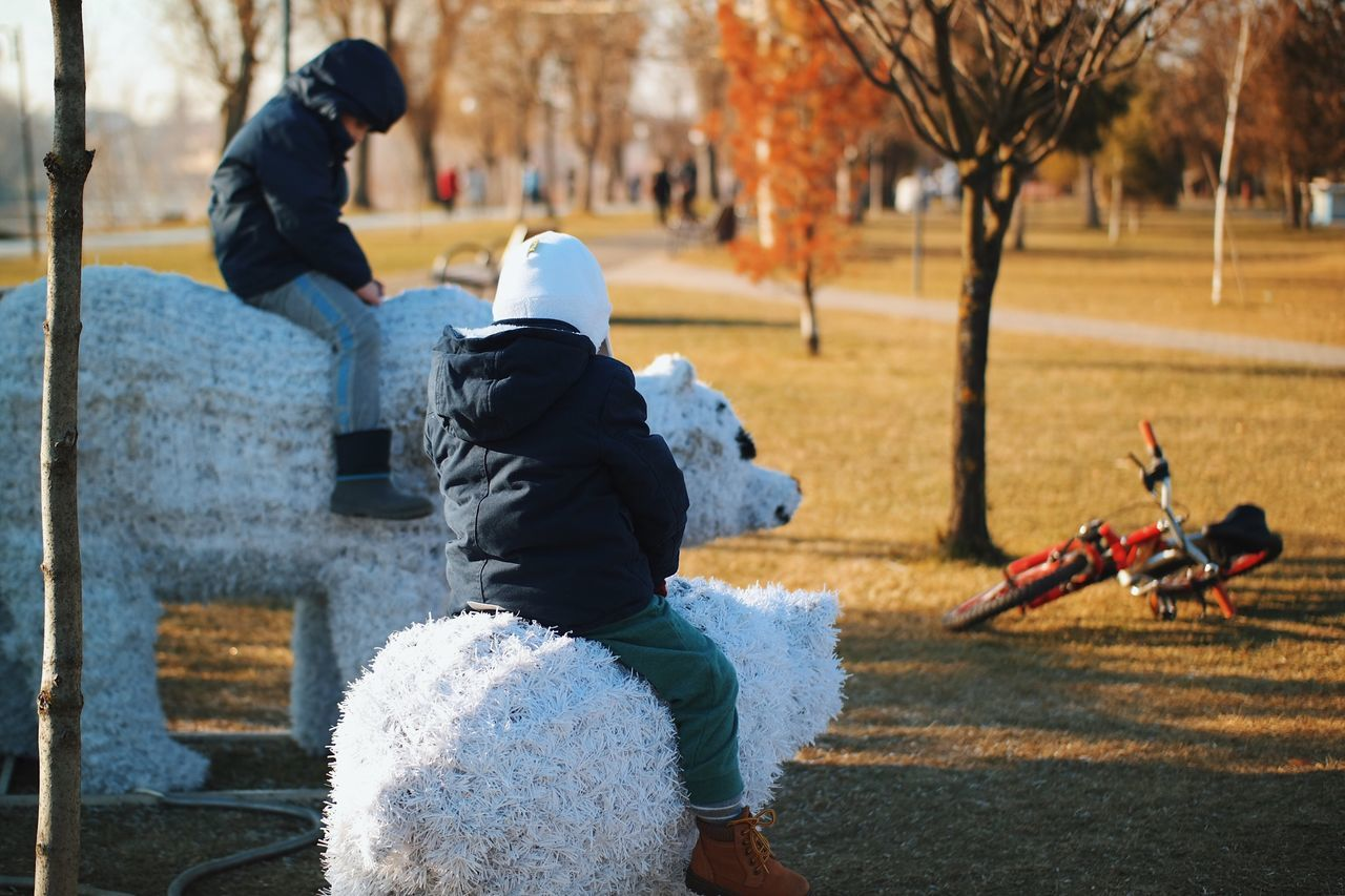 Polar ride... Warm Clothing City Life Child Playing Childhood Memories Made In Romania Kids Having Fun Social Issues Fresh On Eyeem  VSCO Found On The Roll My Favorite Photo Rear View Details Of My Life Childhood Sadness Winter Park Park Life Kids Playing Kids Being Kids Children Playing Polar Bear Enjoyment Lifestyles
