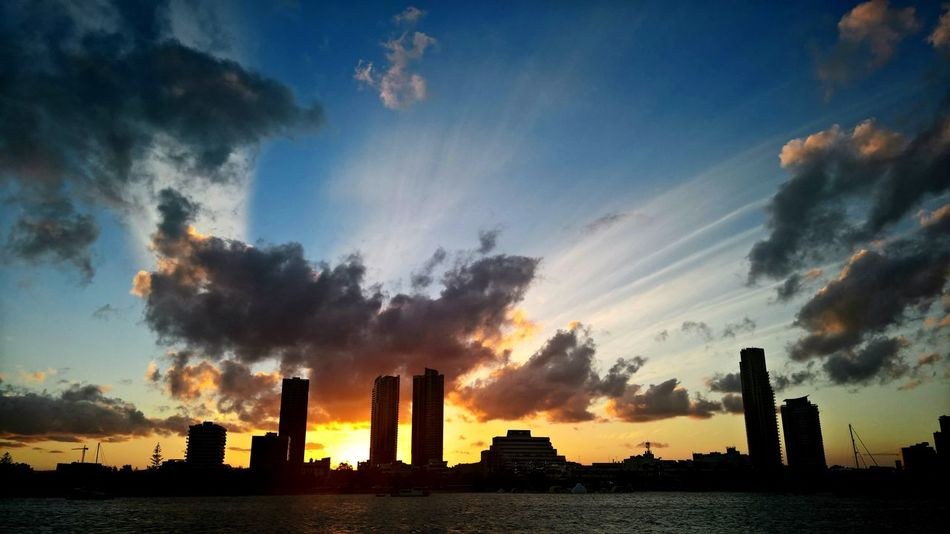 Sky Outdoors Urban Skyline Architecture Sunsets sunset #sun #clouds #skylovers #sky #nature #beautifulinnature #naturalbeauty photography landscape Sunset And Clouds  River Cruise Adapted To The City