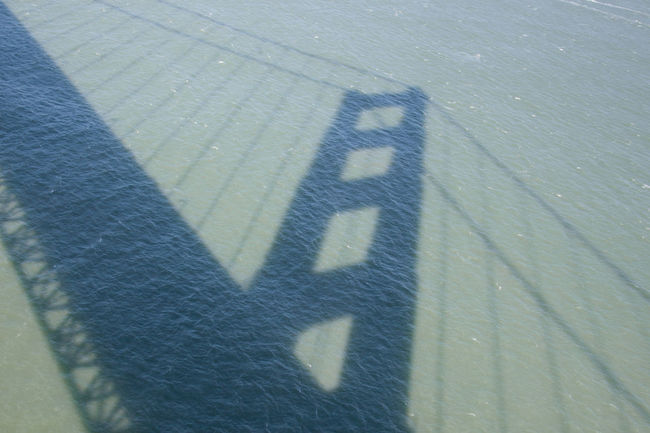 Shadow of the Golden Gate Bridge in Water Bridge California Day Golden Gate Bridge Outdoors Reflection Reflection In Water San Francisco Shadow Shadow In Water Suspension Bridge USA