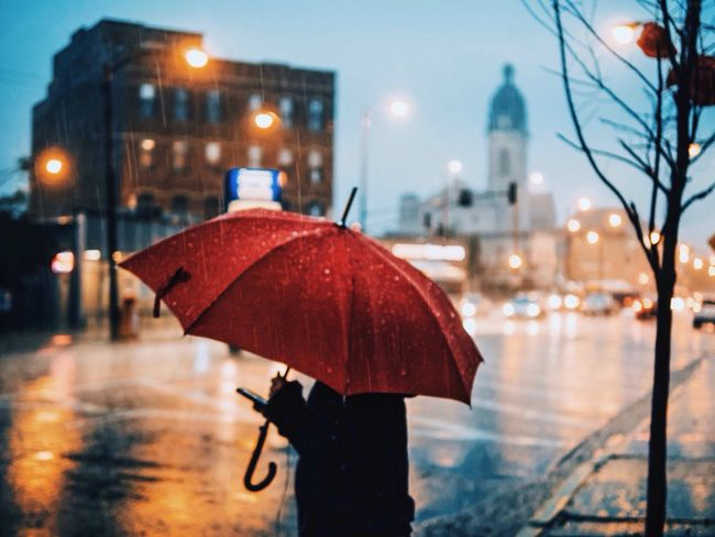 Colors City Chicago EyeEm Best Shots Rain Umbrella Red Umbrella Blue VSCO