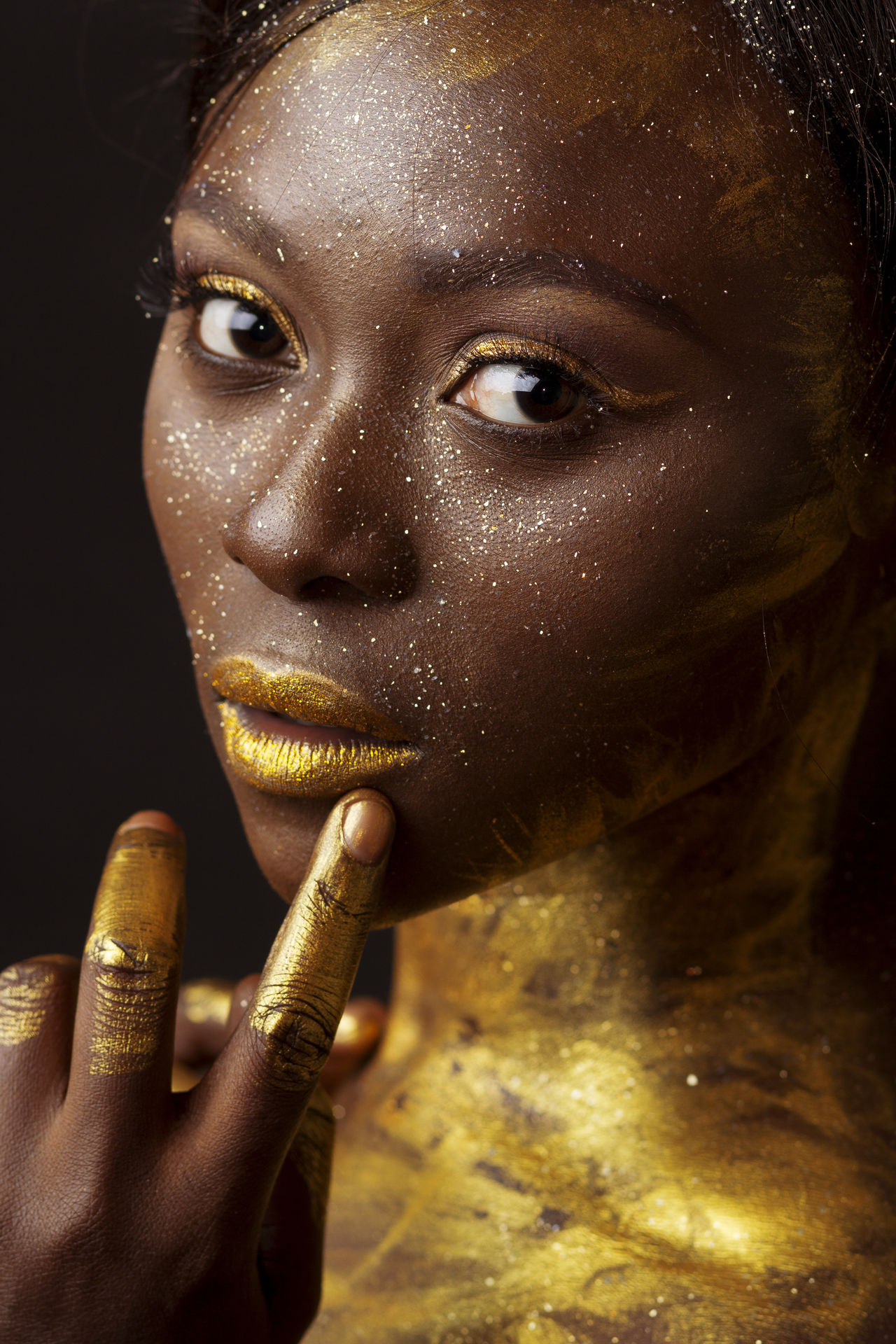 Beauty Close-up Cultures Editorial  Gold Gold Colored Headshot Human Body Part Human Face Looking Portrait Shine Shiny Stage Make-up Studio Shot Yellow