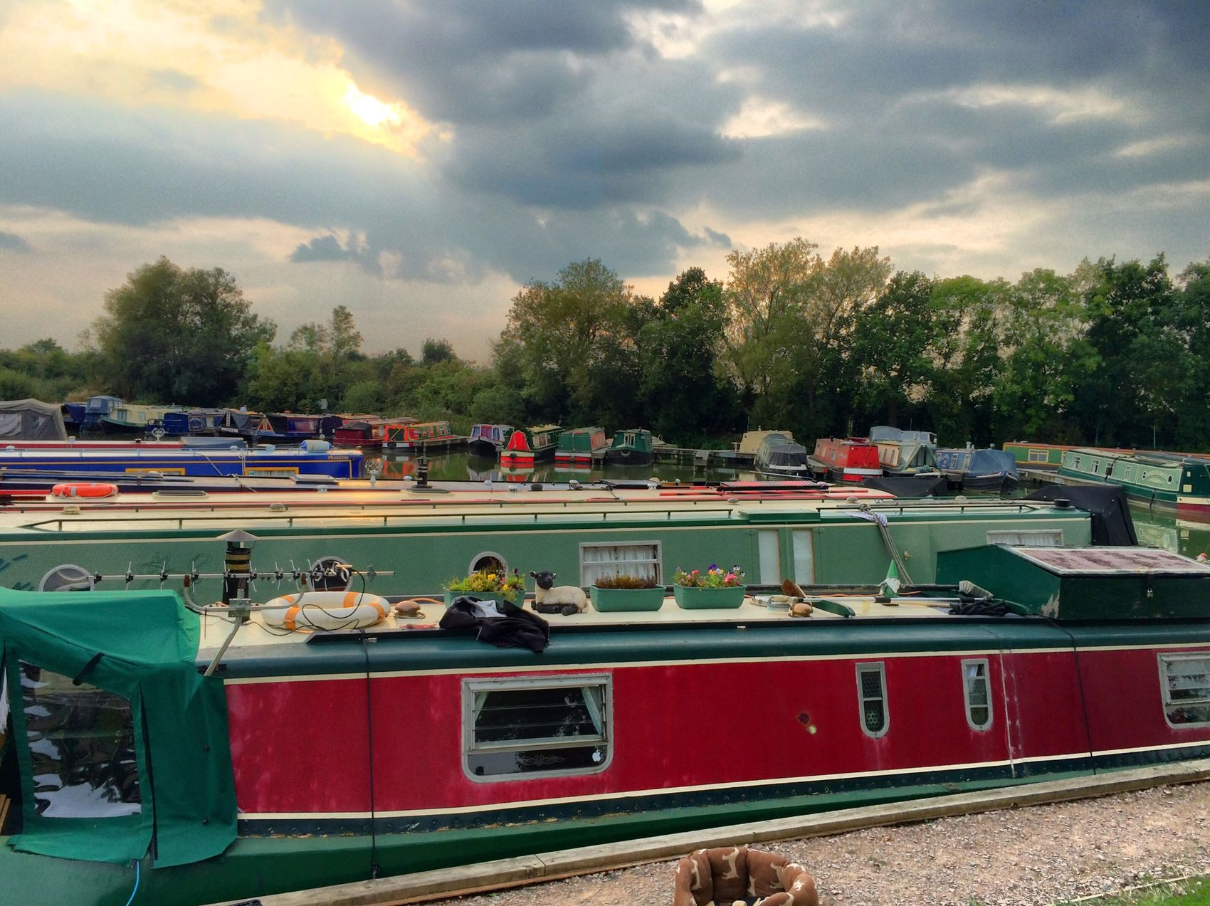 End of a splendid day but busy day fitting out Hannah the Narrowboat Enjoying Life Canal Grand Union Canal Gayton Marina
