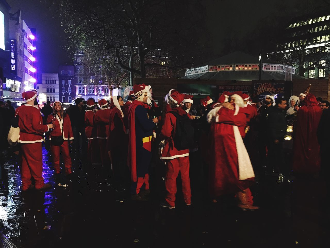 Drunk Santa Santa Father Christmas Leicester Square Christmas Time Festive Large Group Of People Night Outdoors Crowd Drinking Santacon