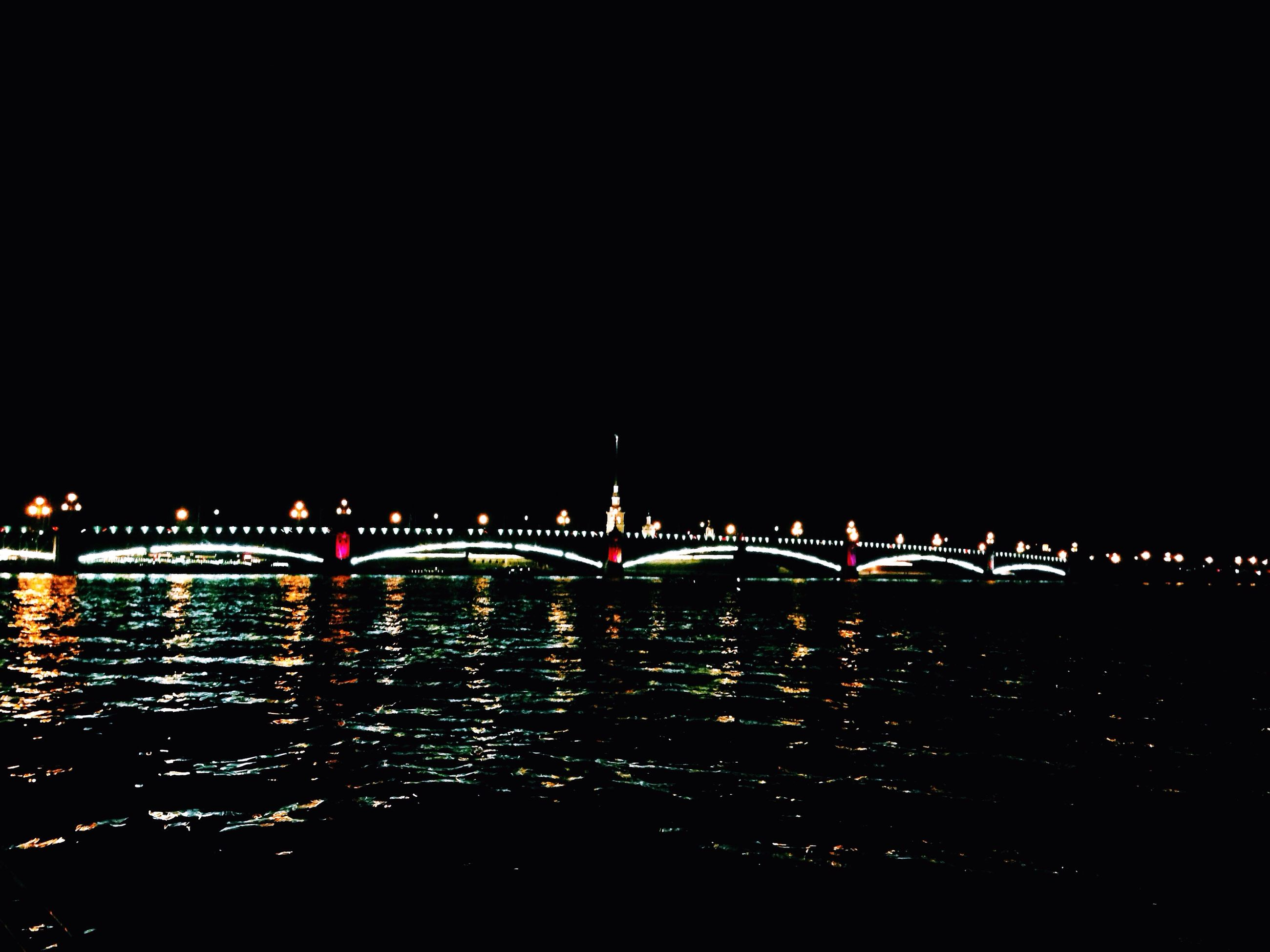 illuminated, night, copy space, clear sky, water, architecture, bridge - man made structure, built structure, connection, city, transportation, river, travel destinations, bridge, dark, lighting equipment, travel, engineering, building exterior, outdoors