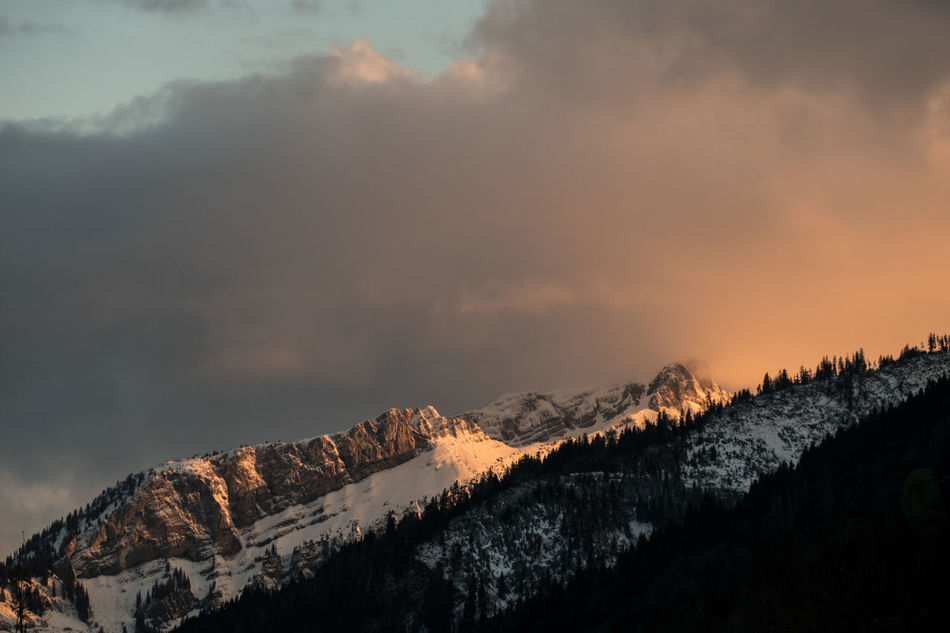 snow-covered mountain April April Weather Beauty In Nature Cloud - Sky Cold Temperature Evening Hiking Landscape Mountain Mountain Range Nature Outdoors Peak Sky Snow Switzerland Travel View Weather