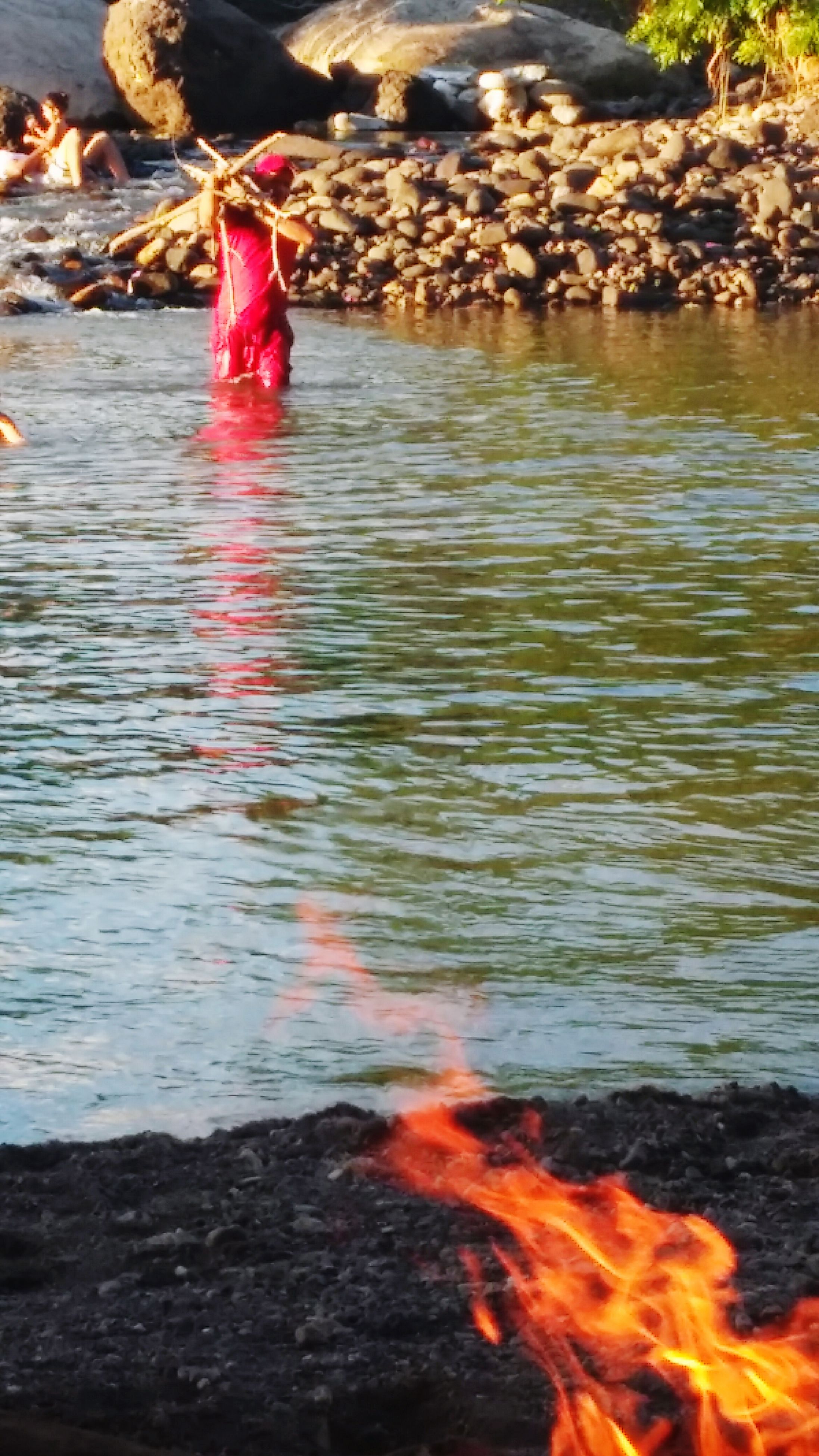 water, lifestyles, leisure activity, motion, men, rippled, lake, outdoors, waterfront, reflection, river, nature, sunlight, orange color, pond, day, swimming, splashing