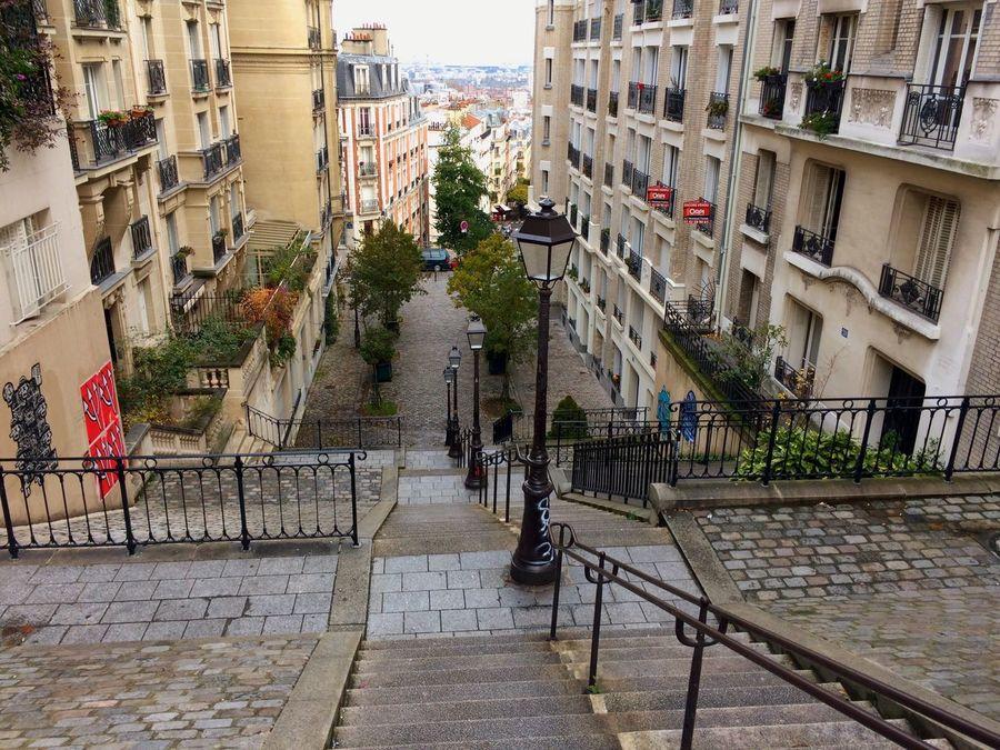 No People Staircase Steps City Paris Monmartre Buidings View Cityscape