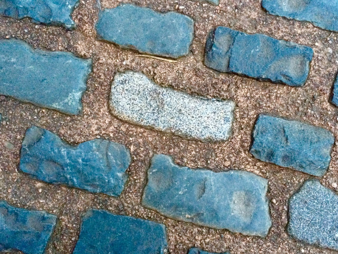 Blue Stone Cobblestone Pattern Rows Of Things
