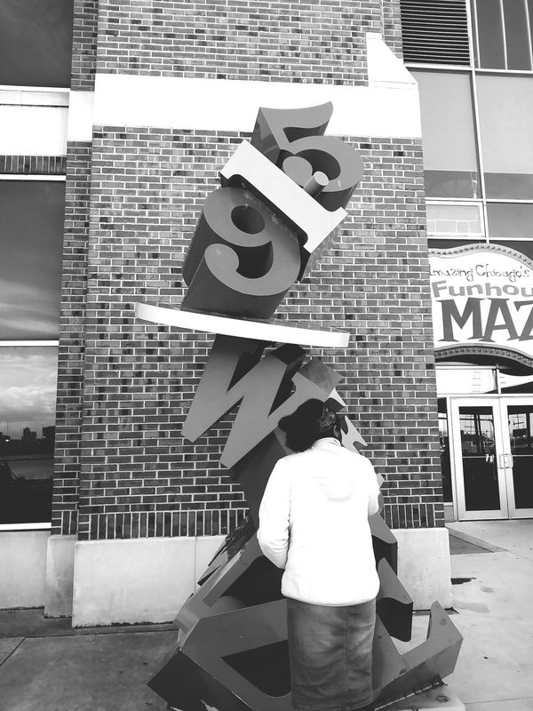 Photos Downtown Chicago Numbers Abstract People Girls Memories Through My Lens Women Outdoors Casual Clothing Young Women Navy Pier Chillyweather  Human Body Part Freshness Yari Chicago One Person Full Length Statue. Power Blackgirl Qomea Blackandwhitephotography
