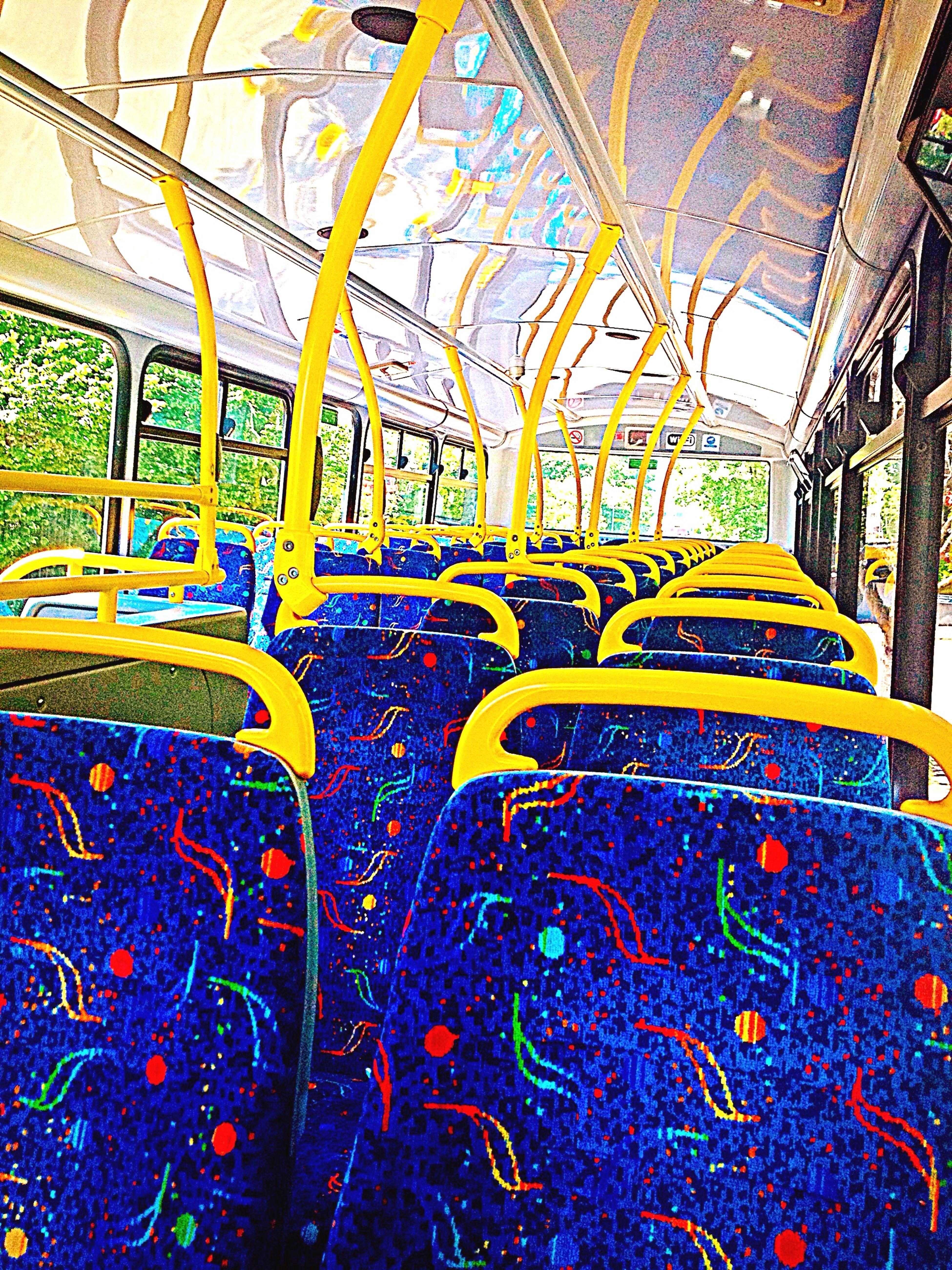 Bus Empty Colourful Bright Irish🍀 Seats Pattern Alone Peace Quiet